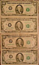 1981 100 United States Federal Reserve Notes Lot Of Four Notes
