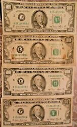 1981-a 100 United States Federal Reserve Notes Lot Of Four Notes