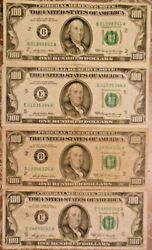 1969 And 1969-a 100 United States Federal Reserve Notes Lot Of Four