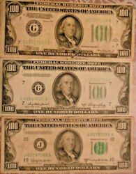 1934, 1950-a And 1950-d 100 United States Federal Reserve Notes Lot Of Three