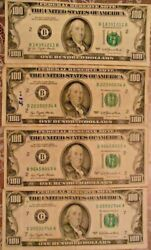 1977 100 United States Federal Reserve Notes Lot Of Four Notes