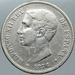 1876 Spain W King Alfonso Xii Antique Old Spanish Silver 5 Pesetas Coin I88588