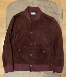Brunello Cucinelli Suede Bomber Leather Jacket Size M 4890