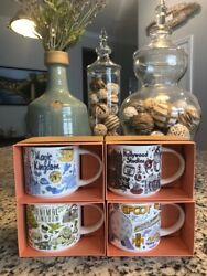 Disney World Complete Set Of 4 Starbucks Coffee Mugs Been There Series