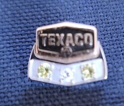 Vintage 1/2 Texaco Oil Service Award Pin 10k Gold With Jewels Tie Tack