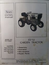 Sears Suburban St/12 Lawn Garden Tractor Owner, Engine And Parts Manual 917.25860