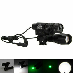Tactical Green Dot Laser Sight Light Rail Mount Remote Switch Zoom Hunting Torch