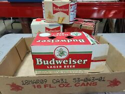 Budweiser Six Pack In Holder With Gold Split Label Cans Bar Restaurant Display