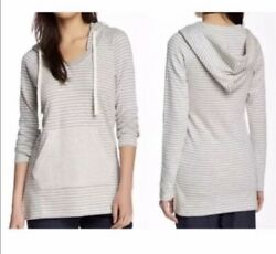 Standard James Perse Gray White Stripe Hoodie Top Pullover Size Medium To Large
