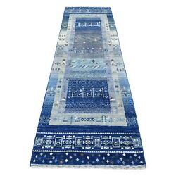2and0399x9and03910hand-knotted Blue Kashkuli Gabbeh Animal Figurines Wool Rug R56441