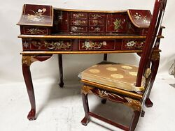 Oriental Desk Furniture Burgundy With French Lacquer Desk With Chair