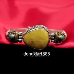 Tibet Tribe Jewellery Jewelry Pure Silver Inlay Turquoise Beeswax Racelet Bangle