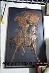 47 China Wood Painted Relief Sculpture Guan Gong Guan Yu Ride Horse Wall Plaque