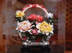 Chinese White Dehua Porcelain Pottery Painted Peony Flower Basket Art Sculpture