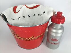 3 Piece Budweiser- Ice Bucket, Hand Towel And Water Bottle Brand New Free Shipping