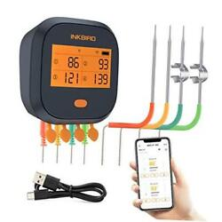 Wifi Grill Thermometer Ibbq-4t, Rechargeable Wireless Bbq Thermometer With 4 Pr