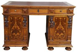 Antique Italian Neoclassical Walnut Marquetry Figural Writing Desk Library Table