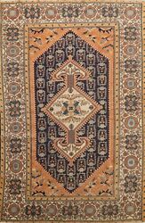 Antique Vegetable Dye Geometric Navy/rust 4x5 Sultanabad Area Rug 5and039 5 X 3and039 9