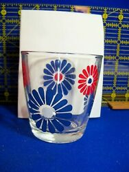 Vintage Sour Cream Glass DAISY Red White and Blue 1 2 pint #2