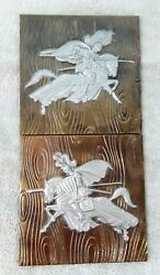 Vintage Lot Of 2 Copper Plated Knights Wall Hangings 8 X 8 Plaques Medieval
