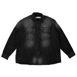 Nwt Off White C/o Virgil Abloh Black Stonewash Effect Denim Shirt Size M 1410