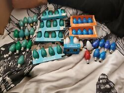 Vintage General Electric Outdoor Christmas Light Replacement Bulb Lot C-9