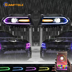 2pcs Led Rgb Colorful Lights Drl Projector Headlight For 2015-2020 Dodge Charger