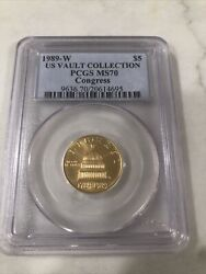 1989 West Point 5 Gold Congress Pcgs Ms70 Is Vault Collection Rare Coin