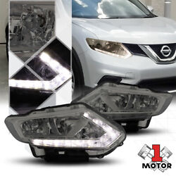 Smoke Tinted Headlight Led Strip Drl Clear Turn Signal For 14-16 Nissan Rogue