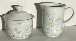 Denby Fine Porcelain Pastel Collection Serenade-cream And Sugar - Portugal Daisies
