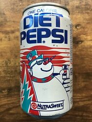 Diet Pepsi Vintage Snowman Surfing Christmas Empty Soda Can Opened Circa 1990