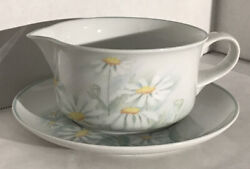 Denby Porcelain Pastel Collection Serenade-gravy Boat W Plate Portugal Daisies