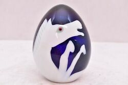 Rare Orient And Flume Egg Shaped Horse Pony Scene Paperweight Art Glass Signed