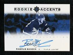2019 Upper Deck Ultimate Collection Accents /65 Rasmus Sandin Ra-rs Rookie Auto