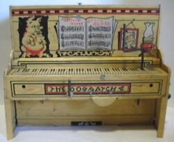 Old 1945 Lil Abner Tin Wind Up Band Character Toy Piano Part - Works Nice