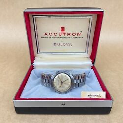 Bulova Accutron Astronaut 1960andrsquos White Face Watch Complete W/ Box-just Serviced