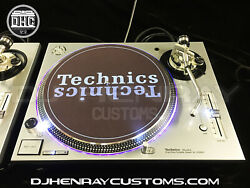 2 Custom Silver Technic Sl1200 Mk5and039s Halos White Leds Laser Etched Dj Turntable