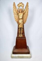 French Antique Art Deco Winged Gilded Nike Victory Statue C1920s