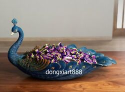 China Art Deco Brass Living Room Ornament Peacock Peafowl Candy Tray Plate Dish