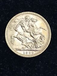 1889 M Sovereign Queen Victoria Jubilee Head Gold Coin St George Melbourne