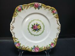Vintage Paragon Tapestry Rose Handled Square Serving Plate 9 1/2 Inches Gilt