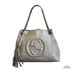 Authentic Gucci Pewter Metallic Pebbled Leather Soho Chain Tote Bag 308982 $985.00