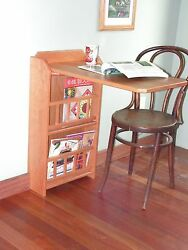 Fold Out End Table Desk And Magazine Rackoak For Rv Trailer Pull Up Leaf
