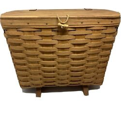 1992 Longaberger Magazine Or Picnic Basket W/ Handle, Footed Stamped / Initialed