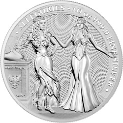 Germania 2020 50 Mark The Allegories – Italia And Germania 10 Oz 999 Silver Coin