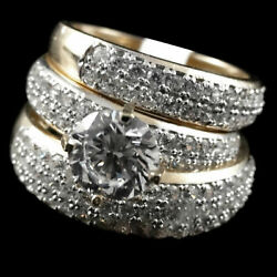10k Yellow Gold R Simulated Diamond His And Hers Bridal Band Set Rings