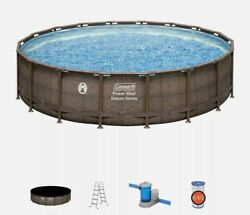 New Coleman 18ft X 48in Above Ground Swimming Pool W/ Pump, Ladder, And Pool Cover