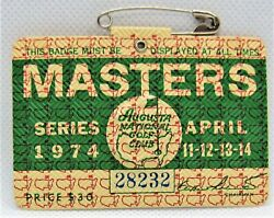 1974 Masters Golf Tournament Vintage Badge -  Gary Player Second Masters Win