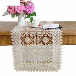 Luxury Embroidered Lace Banquet Dining Decoration Hollow-out Design Table Runner