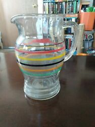 Vintage Glass Mulit-colored Striped Pitcher